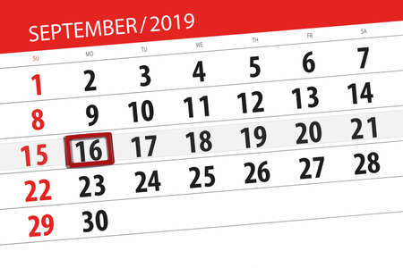 Calendar planner for the month september 2019, deadline day, 16, monday. Zdjęcie Seryjne - 129303599