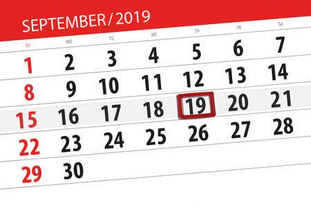 Calendar planner for the month september 2019, deadline day, 19, thursday. Zdjęcie Seryjne - 129303626