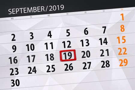 Calendar planner for the month september 2019, deadline day, 19, thursday. Zdjęcie Seryjne - 129303636