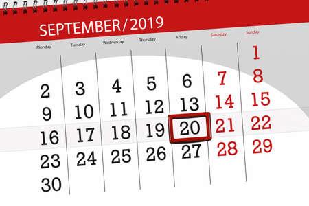 Calendar planner for the month september 2019, deadline day, 20, friday. Zdjęcie Seryjne - 129303630