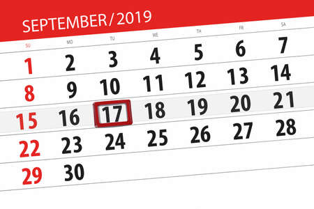 Calendar planner for the month september 2019, deadline day, 17, tuesday. Zdjęcie Seryjne - 129303635