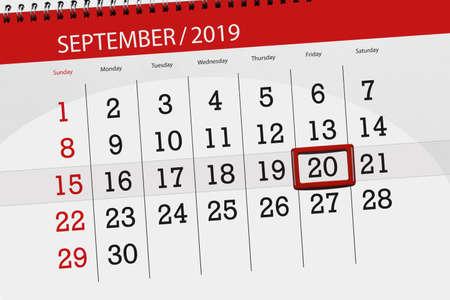 Calendar planner for the month september 2019, deadline day, 20, friday. Zdjęcie Seryjne - 129301468