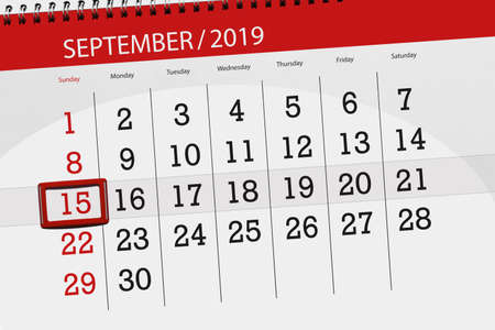 Calendar planner for the month september 2019, deadline day, 15, sunday. Zdjęcie Seryjne - 129301463