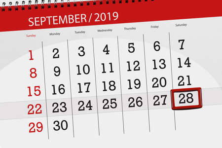 Calendar planner for the month september 2019, deadline day, 28, saturday. Фото со стока - 129299198