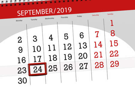 Calendar planner for the month september 2019, deadline day, 24, tuesday. Stock Photo