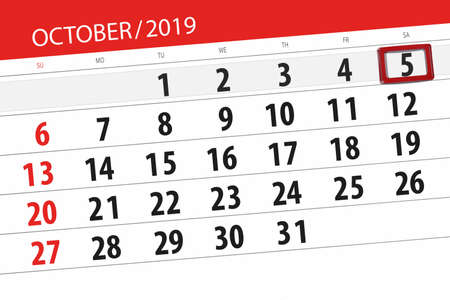 Calendar planner for the month october 2019, deadline day, 5, saturday.