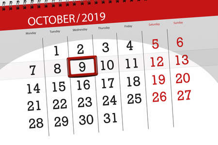 Calendar planner for the month october 2019, deadline day, 9, wednesday.