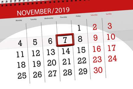 Calendar planner for the month november 2019, deadline day, 7, thursday.