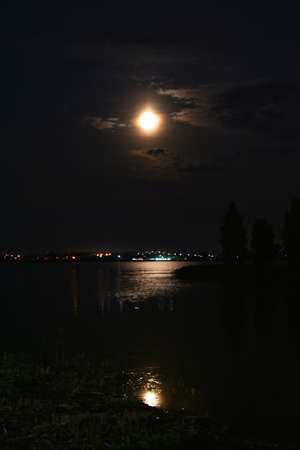 Island on the lake at night, reflection of the moon.