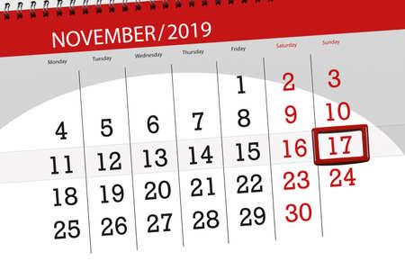 Calendar planner for the month november 2019, deadline day, 17, sunday.
