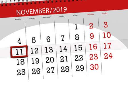 Calendar planner for the month november 2019, deadline day, 11, monday. Zdjęcie Seryjne