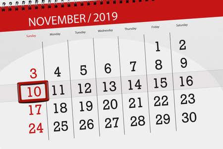 Calendar planner for the month november 2019, deadline day, 10, sunday. Zdjęcie Seryjne