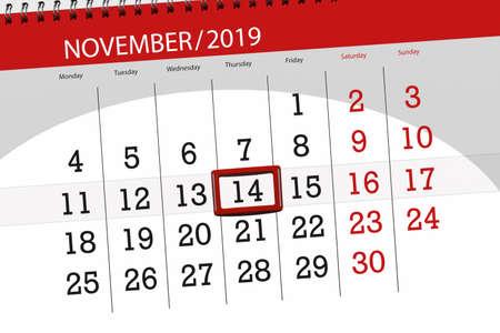 Calendar planner for the month november 2019, deadline day, 14, thursday.