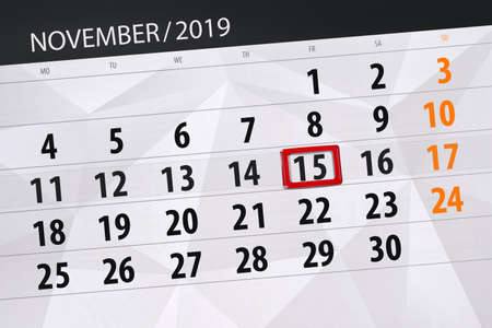 Calendar planner for the month november 2019, deadline day, 15, friday. Фото со стока