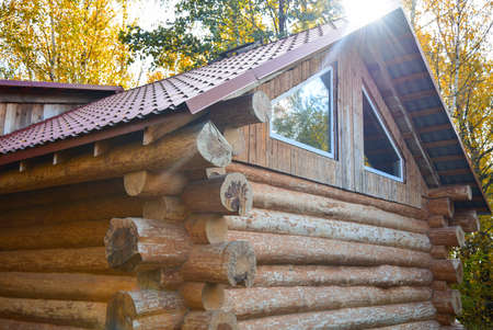 Wooden log house in the forest.