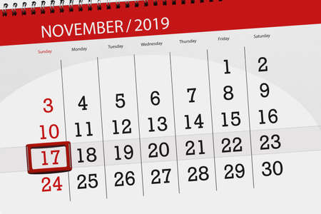 Calendar planner for the month november 2019, deadline day, 17, sunday.
