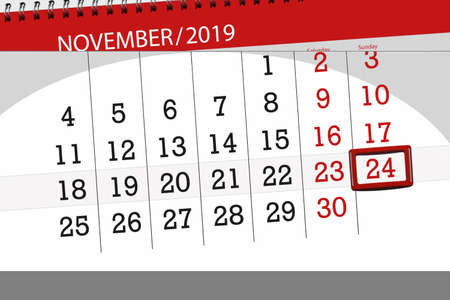 Calendar planner for the month november 2019, deadline day, 24, sunday. 版權商用圖片