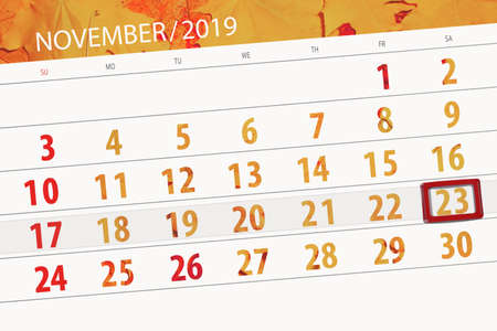 Calendar planner for the month november 2019, deadline day, 23, saturday. 版權商用圖片