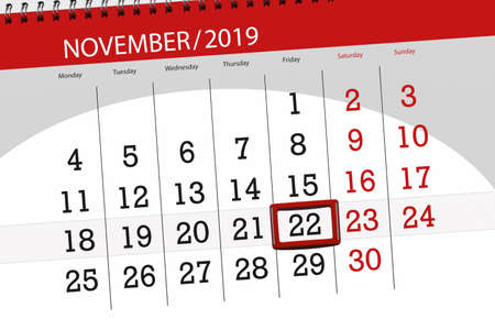 Calendar planner for the month november 2019, deadline day, 22, friday. 版權商用圖片