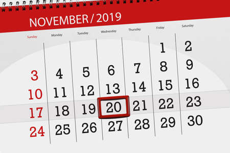 Calendar planner for the month november 2019, deadline day, 20, wednesday.