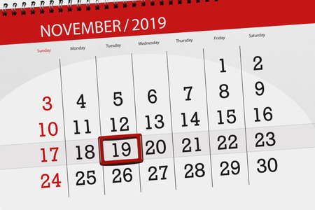 Calendar planner for the month november 2019, deadline day, 19, tuesday.