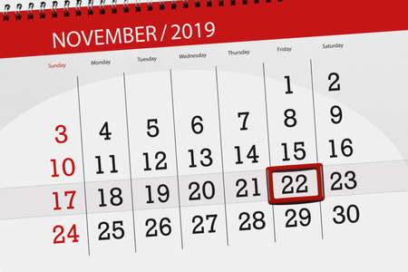 Calendar planner for the month november 2019, deadline day, 22, friday. Zdjęcie Seryjne