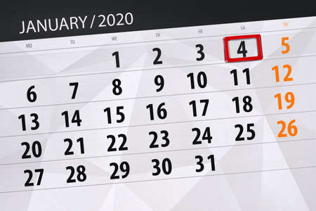 Calendar planner for the month january 2020, deadline day, 4, saturday.