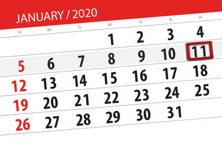 Calendar planner for the month january 2020, deadline day, 11, saturday. Фото со стока
