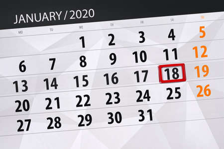 Calendar planner for the month january 2020, deadline day, 18, saturday.