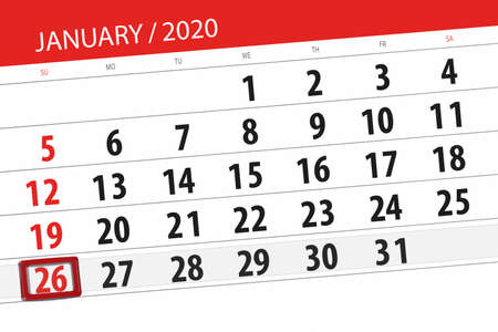 Calendar planner for the month january 2020, deadline day, 26, sunday.