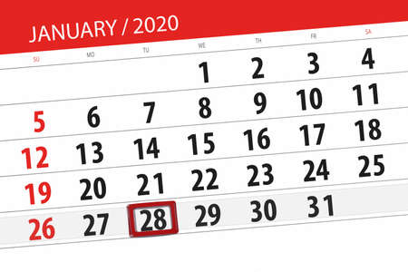 Calendar planner for the month january 2020, deadline day, 28, tuesday.