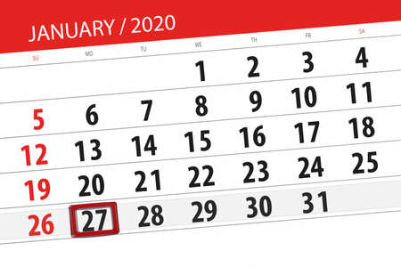 Calendar planner for the month january 2020, deadline day, 27, monday.