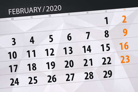 Calendar planner for the month february, deadline day. Фото со стока - 138039334