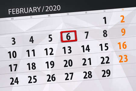 Calendar planner for the month february 2020, deadline day, 6, thursday. Фото со стока - 138039336