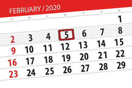 Calendar planner for the month february 2020, deadline day, 5, wednesday. Фото со стока - 138039339