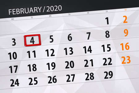 Calendar planner for the month february 2020, deadline day, 4, tuesday. Фото со стока - 138039340