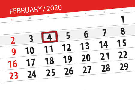 Calendar planner for the month february 2020, deadline day, 4, tuesday. Фото со стока - 138039341