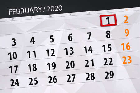 Calendar planner for the month february 2020, deadline day, 1, saturday.