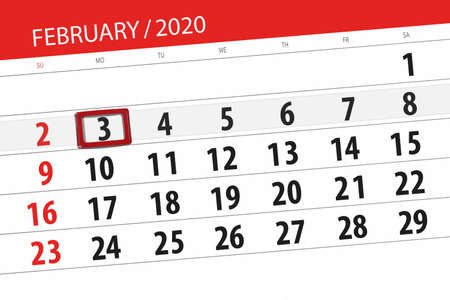Calendar planner for the month february 2020, deadline day, 3, monday. Фото со стока - 138039347