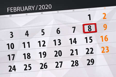 Calendar planner for the month february 2020, deadline day, 8, saturday. Фото со стока - 138039344
