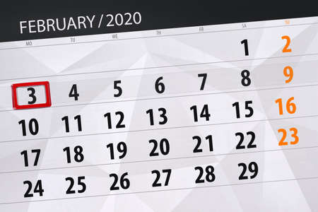 Calendar planner for the month february 2020, deadline day, 3, monday. Фото со стока - 138039348