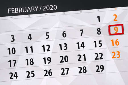 Calendar planner for the month february 2020, deadline day, 9, sunday. Фото со стока - 138039345