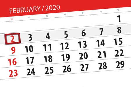 Calendar planner for the month february 2020, deadline day, 2, sunday.