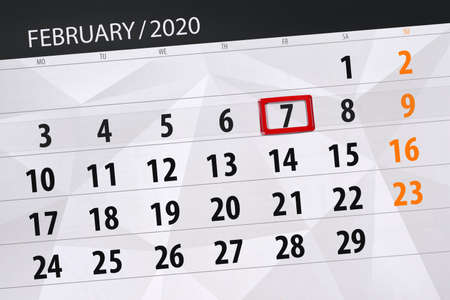 Calendar planner for the month february 2020, deadline day, 7, friday. Фото со стока - 138039367