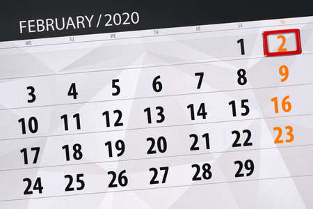 Calendar planner for the month february 2020, deadline day, 2, sunday. Фото со стока - 138039370
