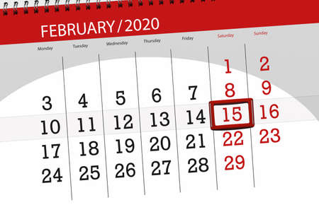 Calendar planner for the month february 2020, deadline day, 15, saturday. Фото со стока - 138039377