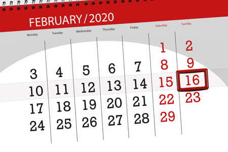 Calendar planner for the month february 2020, deadline day, 16, sunday. Фото со стока