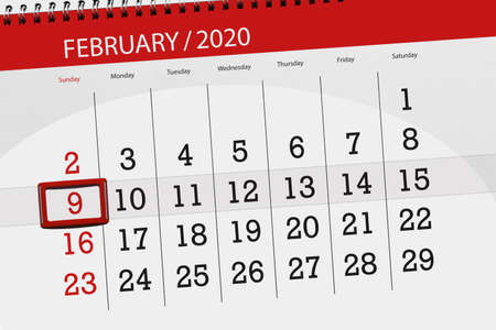 Calendar planner for the month february 2020, deadline day, 9, sunday. Фото со стока - 138039386