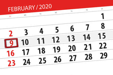 Calendar planner for the month february 2020, deadline day, 9, sunday. Фото со стока