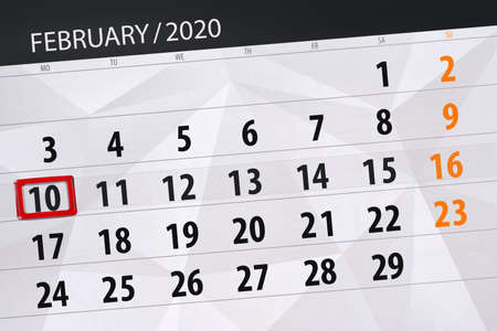 Calendar planner for the month february 2020, deadline day, 10, monday. Фото со стока - 138039391
